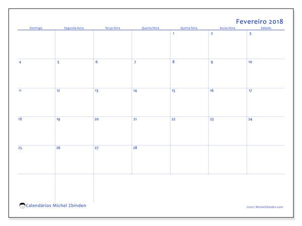 Calendário de fevereiro  de 2018 (55DS). Calendário para imprimir livre.