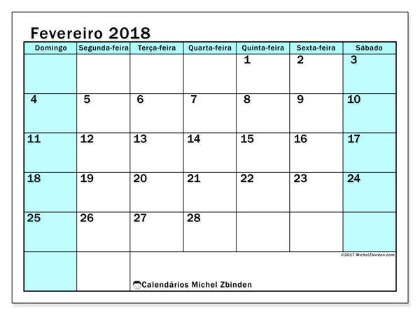Calendário de fevereiro  de 2018 (59DS). Calendário para o mês para imprimir livre.