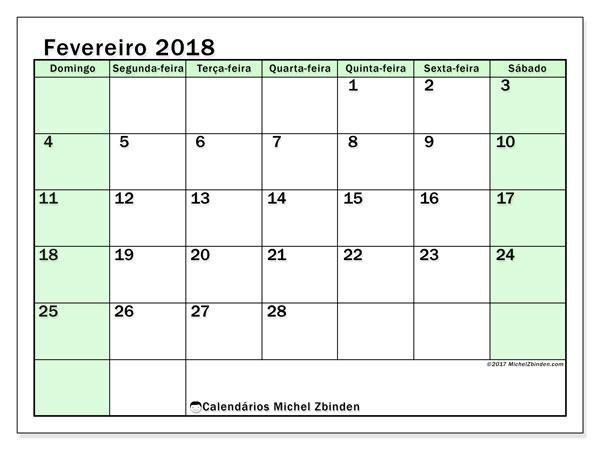 Calendário de fevereiro  de 2018 (60DS). Calendário para o mês para imprimir livre.