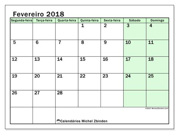 Calendário de fevereiro  de 2018 (60SD). Horário para imprimir livre.
