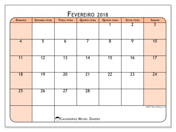 Calendário de fevereiro  de 2018 (61DS). Calendário para imprimir gratuitamente.