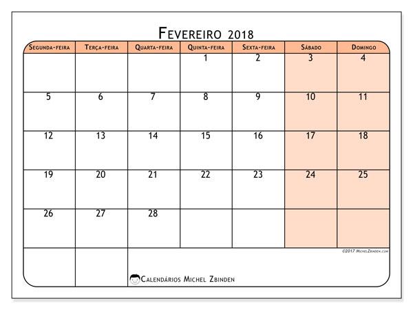 Calendário de fevereiro  de 2018 (61SD). Agenda para imprimir livre.