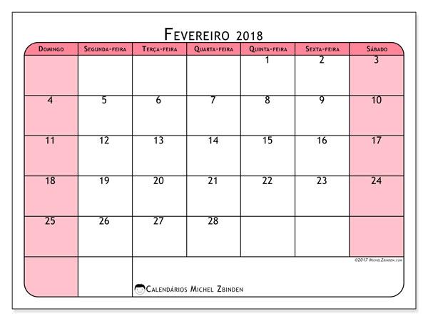 Calendário de fevereiro  de 2018 (64DS). Calendário mensal para imprimir gratuitamente.