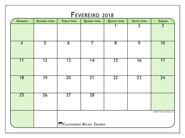 Calendário de fevereiro  de 2018 (65DS). Calendário gratuito para imprimir.