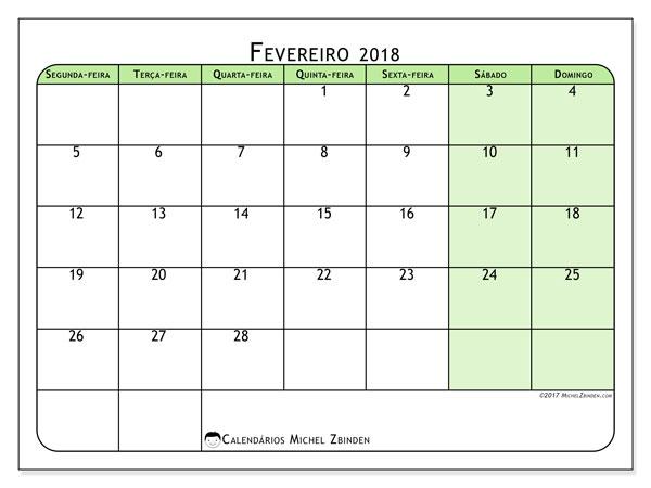 Calendário de fevereiro  de 2018 (65SD). Agenda para imprimir livre.
