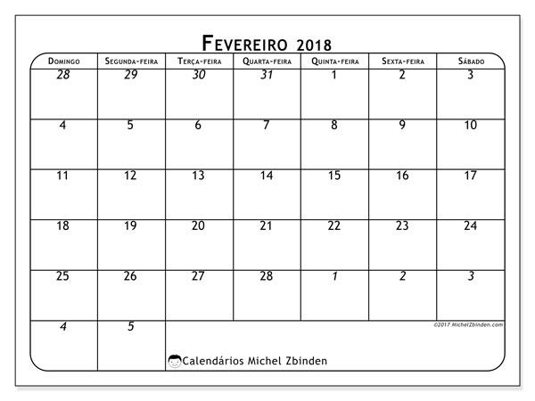 Calendário de fevereiro  de 2018 (67DS). Calendário mensal para imprimir gratuitamente.