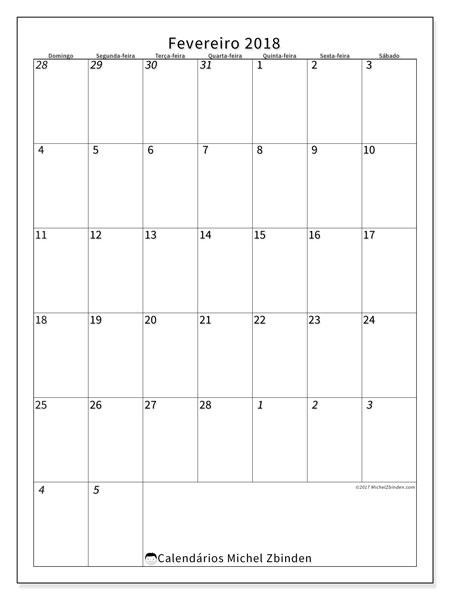 Calendário de fevereiro  de 2018 (68DS). Calendário para imprimir gratuitamente.