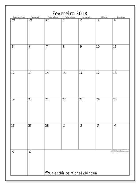 Calendário de fevereiro  de 2018 (68SD). Horário para imprimir livre.
