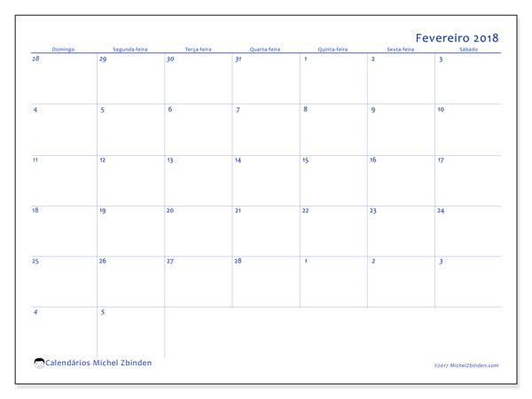 Calendário de fevereiro  de 2018 (73DS). Horário para imprimir livre.