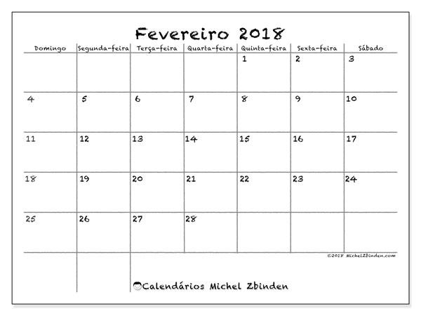 Calendário de fevereiro  de 2018 (77DS). Calendário para imprimir gratuitamente.