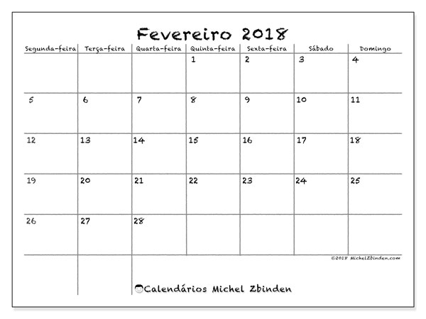 Calendário de fevereiro  de 2018 (77SD). Calendário gratuito para imprimir.