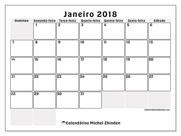 Calendário de janeiro  de 2018 (44DS). Calendário para o mês para imprimir livre.