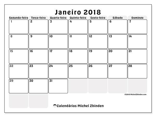 Calendário de janeiro  de 2018 (44SD). Horário para imprimir livre.