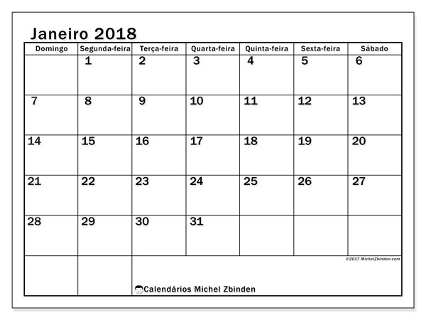 Calendário de janeiro  de 2018 (50DS). Agenda para imprimir livre.