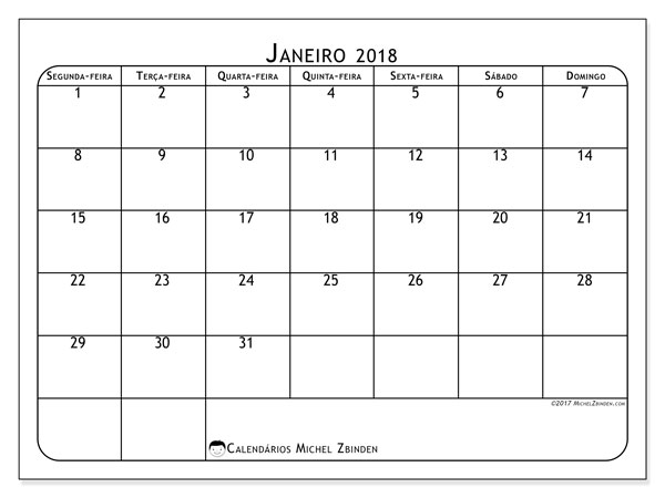 Calendário de janeiro  de 2018 (51SD). Calendário mensal para imprimir gratuitamente.