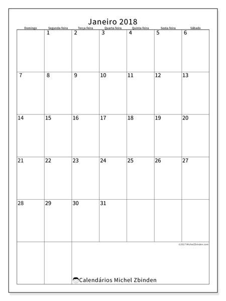 Calendário de janeiro  de 2018 (52DS). Calendário gratuito para imprimir.
