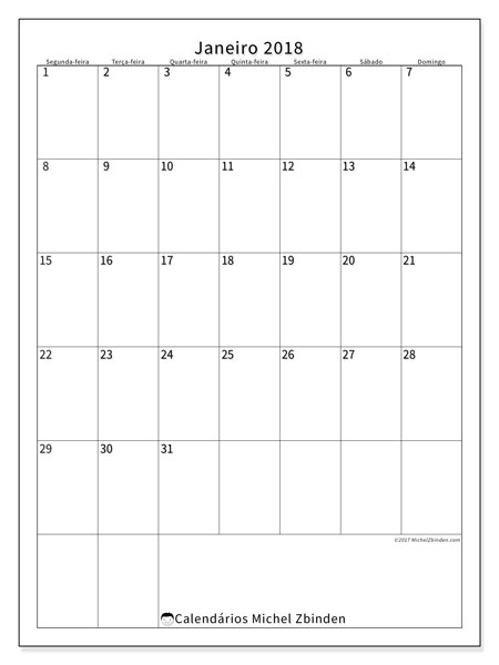 Calendário de janeiro  de 2018 (52SD). Calendário para o mês para imprimir livre.