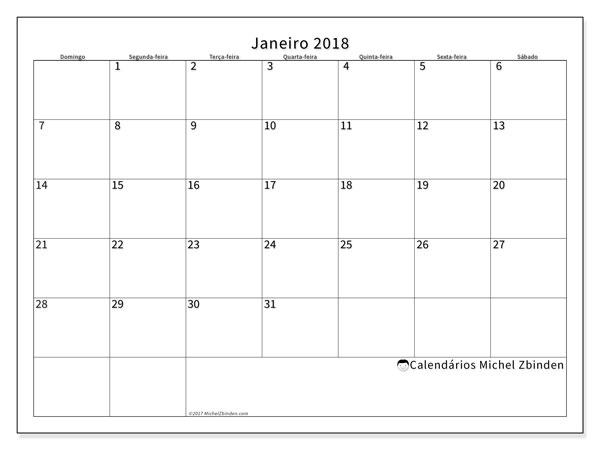 Calendário de janeiro  de 2018 (53DS). Calendário para imprimir livre.