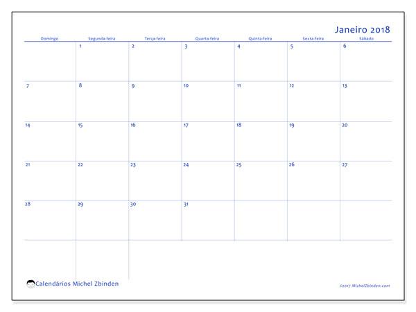 Calendário de janeiro  de 2018 (55DS). Calendário para imprimir livre.