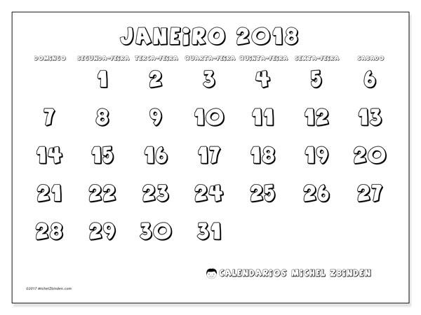 Calendário de janeiro  de 2018 (56DS). Horário para imprimir livre.