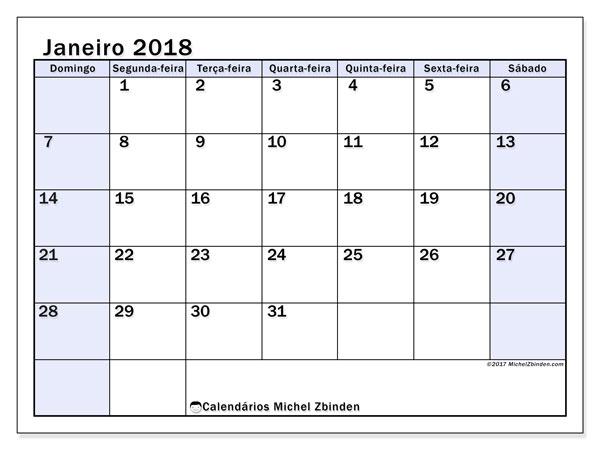 Calendário de janeiro  de 2018 (57DS). Calendário para imprimir livre.