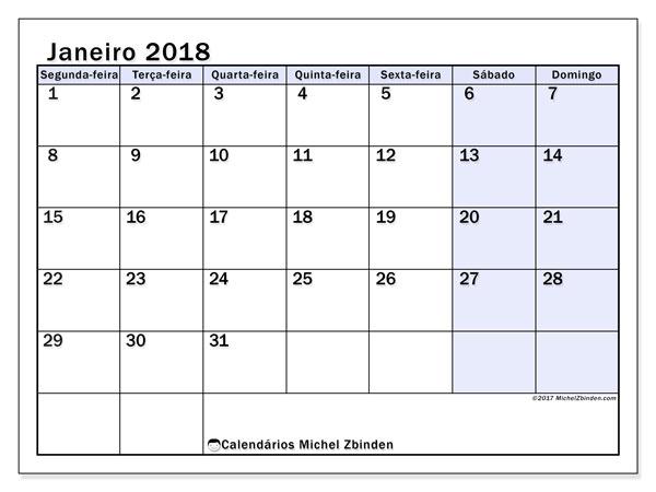 Calendário de janeiro  de 2018 (57SD). Calendário para imprimir gratuitamente.