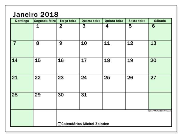 Calendário de janeiro  de 2018 (60DS). Calendário para imprimir gratuitamente.