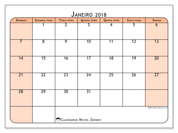Calendário de janeiro  de 2018 (61DS). Calendário gratuito para imprimir.