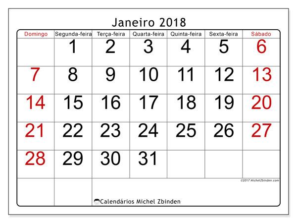 Calendário de janeiro  de 2018 (62DS). Calendário mensal para imprimir gratuitamente.