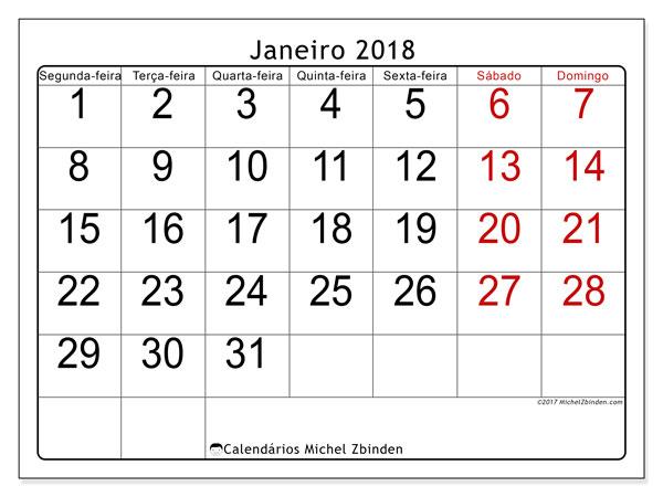 Calendário de janeiro  de 2018 (62SD). Calendário para imprimir livre.