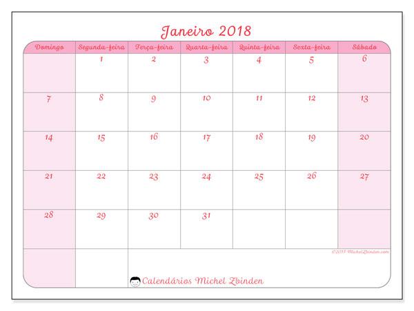 Calendário de janeiro  de 2018 (63DS). Horário para imprimir livre.