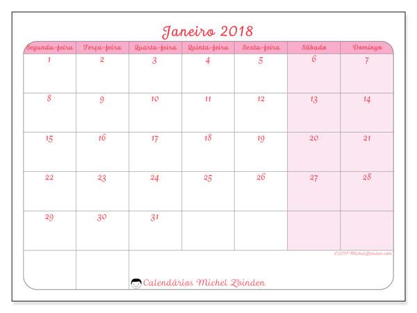 Calendário de janeiro  de 2018 (63SD). Agenda para imprimir livre.