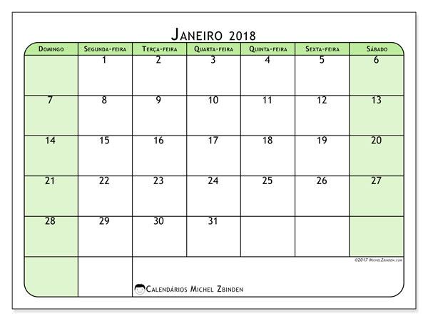 Calendário de janeiro  de 2018 (65DS). Calendário mensal para imprimir gratuitamente.