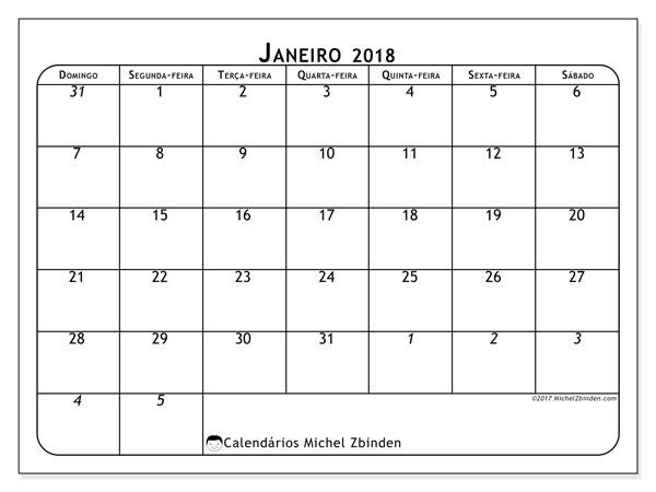 Calendário de janeiro  de 2018 (67DS). Calendário para o mês para imprimir livre.