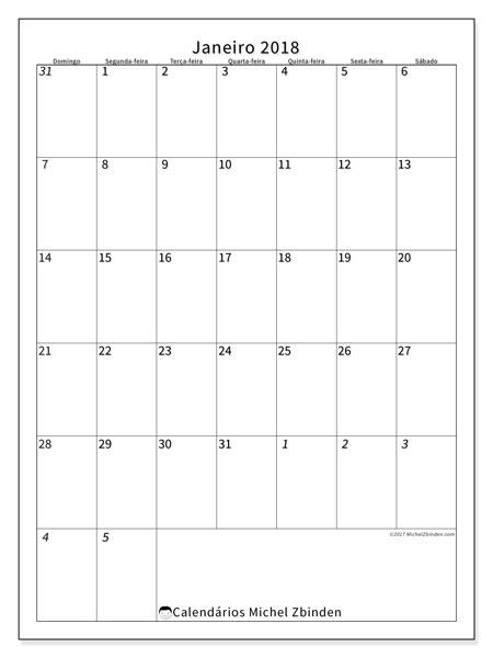 Calendário de janeiro  de 2018 (68DS). Agenda para imprimir livre.
