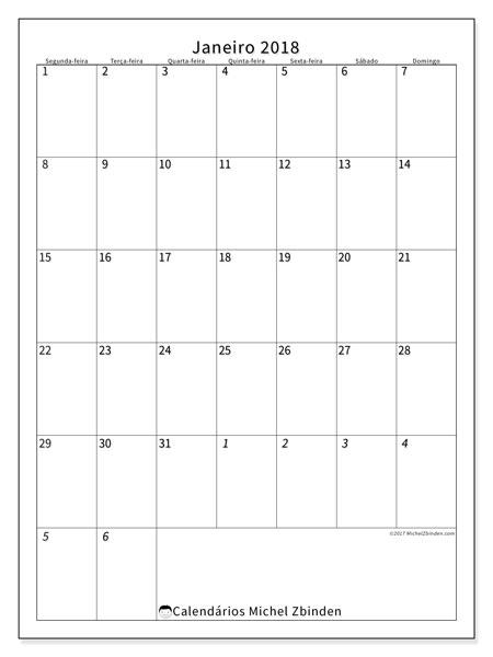Calendário de janeiro  de 2018 (68SD). Calendário para imprimir livre.