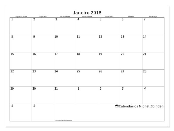 Calendário de janeiro  de 2018 (70SD). Calendário mensal para imprimir gratuitamente.