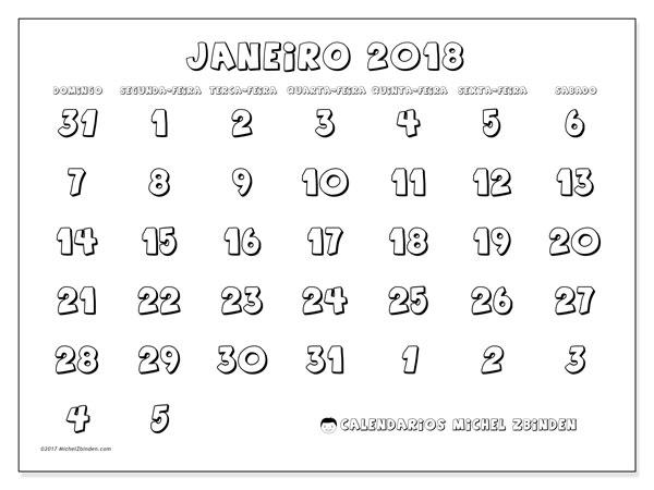 Calendário de janeiro  de 2018 (71DS). Calendário gratuito para imprimir.