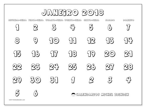 Calendário de janeiro  de 2018 (71SD). Calendário para imprimir livre.