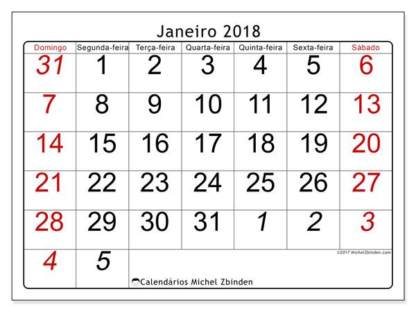 Calendário de janeiro  de 2018 (72DS). Agenda para imprimir livre.