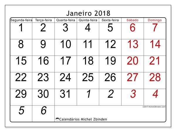 Calendário de janeiro  de 2018 (72SD). Calendário para imprimir livre.
