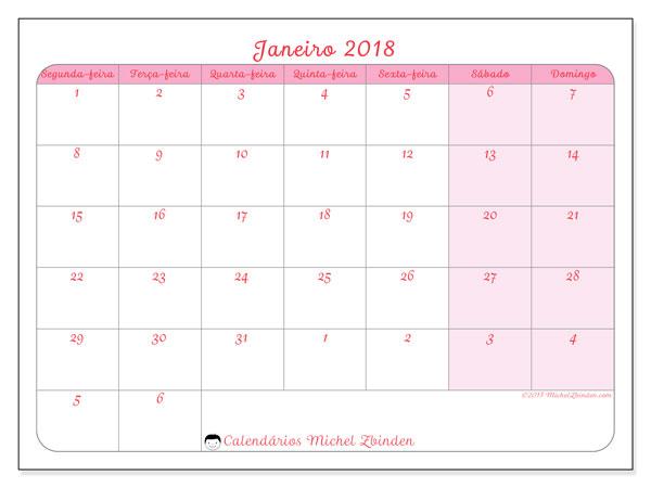 Calendário de janeiro  de 2018 (76SD). Calendário para o mês para imprimir livre.