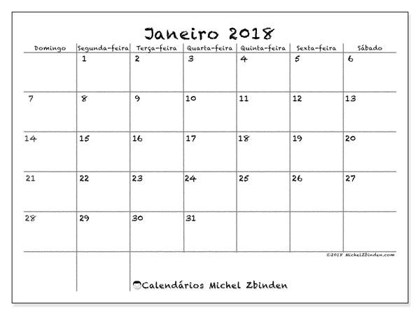 Calendário de janeiro  de 2018 (77DS). Calendário gratuito para imprimir.