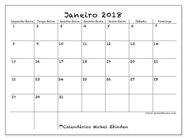 Calendário de janeiro  de 2018 (77SD). Horário para imprimir livre.