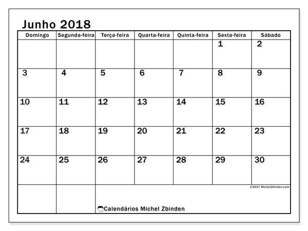 Calendário de junho  de 2018 (50DS). Calendário para o mês para imprimir livre.