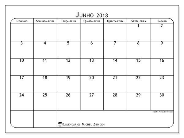 Calendário  junho de 2018, 51DS