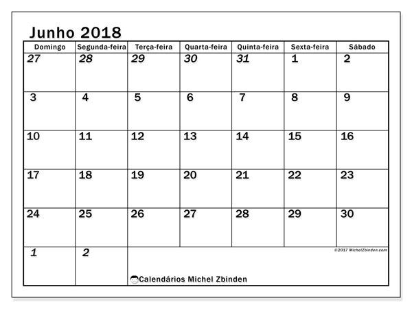 Calendário  junho de 2018, 66DS