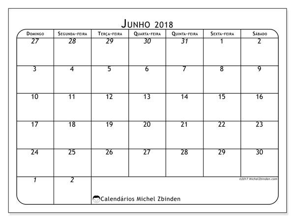 Calendário  junho de 2018, 67DS