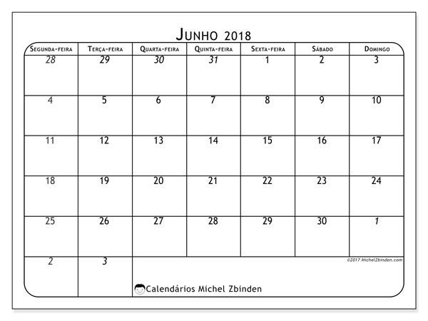 Calendário de junho  de 2018 (67SD). Calendário mensal para imprimir gratuitamente.