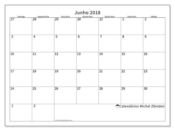 Calendário  junho de 2018, 70DS